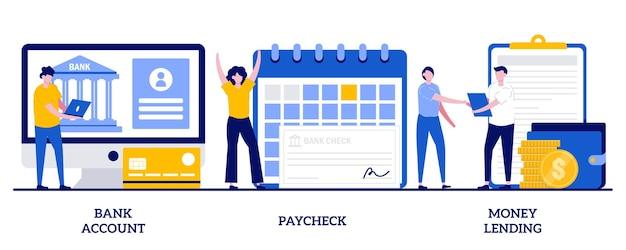 Compte bancaire, chèque de paie, prêt d'argent. ensemble de transfert d'argent, banque en ligne, dépôt d'épargne