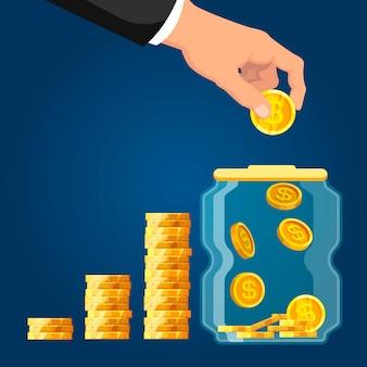 Compte de dépôt. homme affaires, main, mettre, monnaie