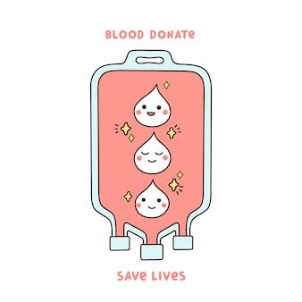 Compte-gouttes avec du sang et des gouttes rouges de dessin animé avec un sourire et des étoiles le don de sang sauve des vies