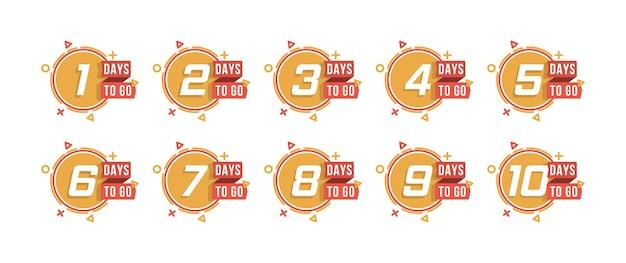 Compte à rebours 1 à 10, l'étiquette ou l'emblème des jours restants peut être utilisé pour la promotion, la vente, la page de destination, le modèle, l'interface utilisateur, le web, l'application mobile, l'affiche, la bannière, le dépliant. ensemble de nombre de jours restants compte à rebours.