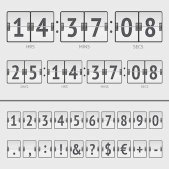 Compte à rebours blanc et numéros de tableau de bord. illustration vectorielle eps10
