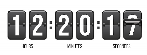 Compte à rebours avec chiffres, compteur d'horloge.