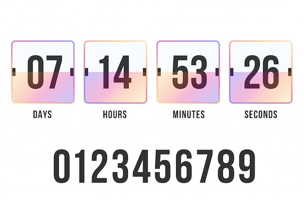 Compte à rebours. compteur d'horloge. tableau de bord numérique.