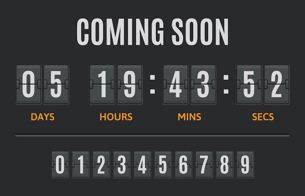 Compte à rebours flip timer flip clock jours heures et minutes compteur flipclock comptage ensemble d'illustrations d'affichage