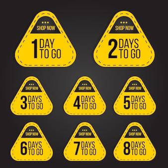 Compte à rebours jours pour aller pour la collection de jeu de badge étiquette de vente