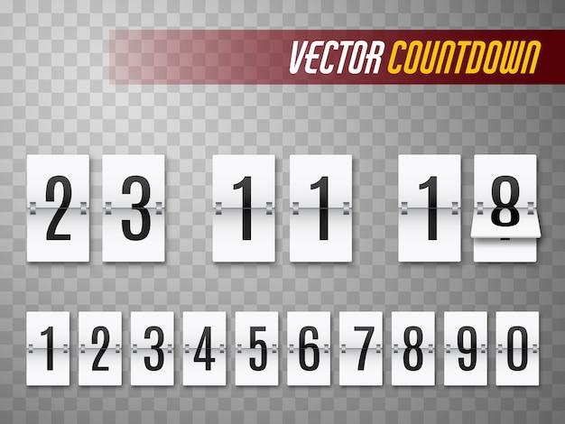 Compte à rebours avec des nombres isolés sur transparent. compteur d'horloge. modèle