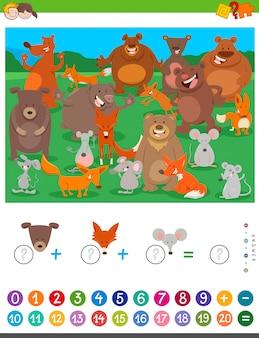 Compter et ajouter un jeu avec des animaux de dessins animés