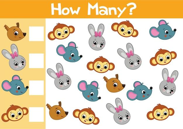 Compter l'illustration du jeu d'animaux pour les enfants d'âge préscolaire au format vectoriel combien y en a-t-il
