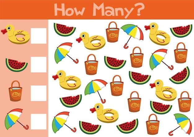 Compter l'illustration du jeu d'objets d'été pour les enfants d'âge préscolaire au format vectoriel