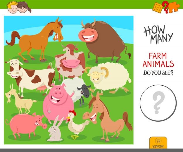 Compter le jeu d'activité des animaux de la ferme
