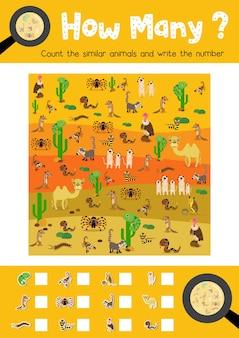 Compter le jeu des animaux du désert