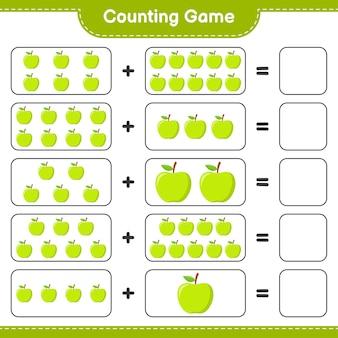 Compter le jeu, compter le nombre d'apple et écrire le résultat.