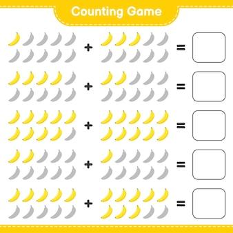 Compter le jeu, compter le nombre de bananes et écrire le résultat.