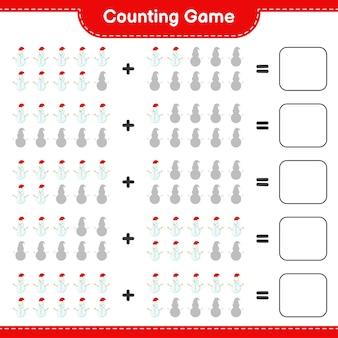 Compter le jeu, compter le nombre de bonhomme de neige et écrire le résultat. jeu éducatif pour enfants, feuille de travail imprimable