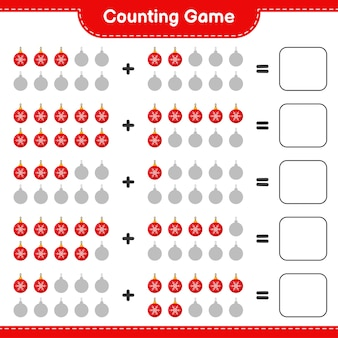 Compter le jeu, compter le nombre de boules de noël et écrire le résultat. jeu éducatif pour enfants, feuille de travail imprimable