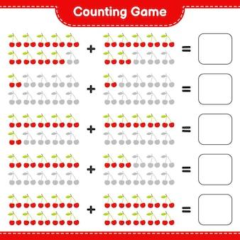 Compter le jeu, compter le nombre de cerises et écrire le résultat.