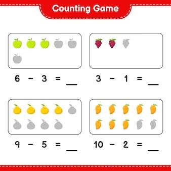 Compter le jeu, compter le nombre de fruits et écrire le résultat. jeu éducatif pour enfants, feuille de travail imprimable