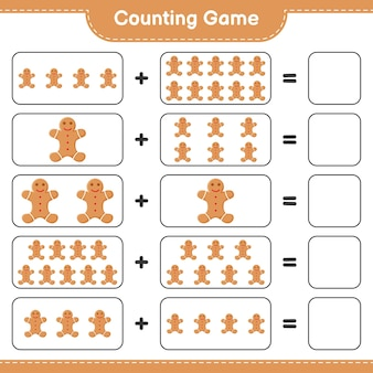 Compter le jeu, compter le nombre de gingerbread man et écrire le résultat. jeu éducatif pour enfants, feuille de travail imprimable
