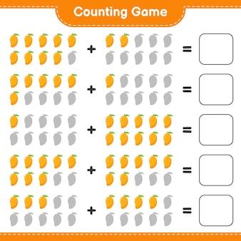 Compter le jeu, compter le nombre de mangue et écrire le résultat.