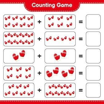 Compter le jeu, compter le nombre de mitaines et écrire le résultat. jeu éducatif pour enfants, feuille de travail imprimable
