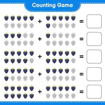 Compter le jeu, compter le nombre de mûres et écrire le résultat.