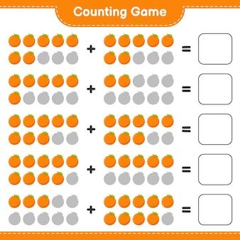 Compter le jeu, compter le nombre d'orange et écrire le résultat.