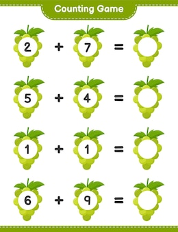 Compter le jeu, compter le nombre de raisins et écrire le résultat. jeu éducatif pour enfants, feuille de travail imprimable
