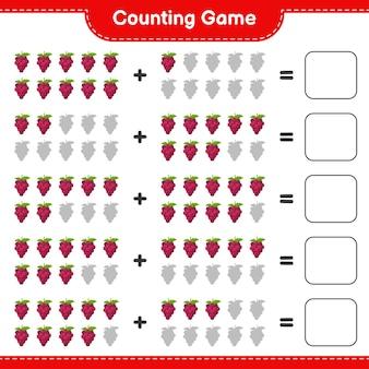 Compter le jeu, compter le nombre de raisins et écrire le résultat.