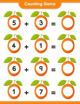 Compter le jeu, compter le nombre de ximenia et écrire le résultat. jeu éducatif pour enfants, feuille de travail imprimable