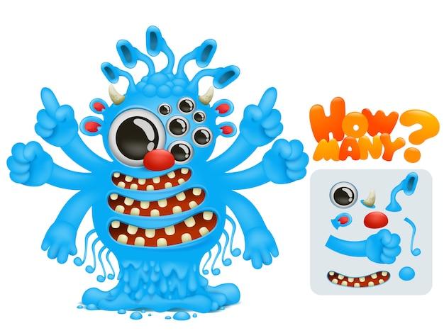 Compter jeu de maths éducatif pour les enfants d'âge préscolaire. compter le nombre de parties du corps du personnage de monstre dessiné