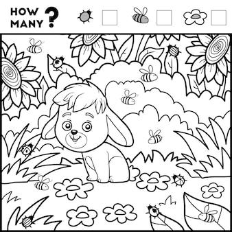 Compter le jeu pour les enfants d'âge préscolaire compter combien d'articles lapin et fond