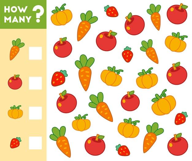 Compter le jeu pour les enfants d'âge préscolaire comptez combien de fruits et légumes et écrivez le résultat