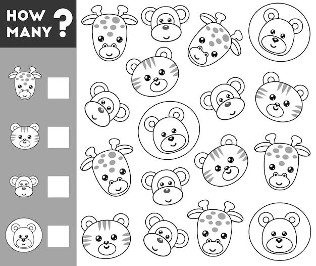 Compter le jeu pour les enfants d'âge préscolaire comptez le nombre d'animaux et écrivez le résultat