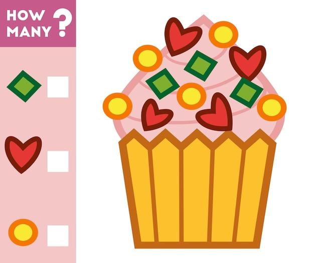 Compter le jeu pour les enfants d'âge préscolaire comptez le nombre de décorations de cupcakes et écrivez le résultat