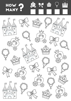 Compter le jeu pour les enfants d'âge préscolaire comptez le nombre d'objets princesse et écrivez le résultat
