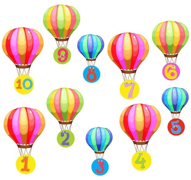 Compter des nombres sur des ballons colorés