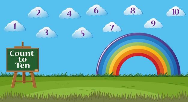 Compter le numéro un à dix avec des chiffres dans le ciel
