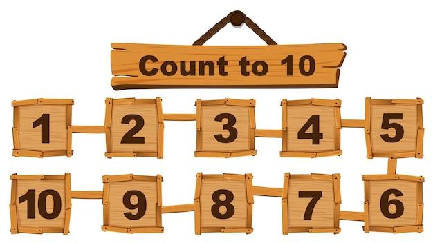 Compter le numéro un à dix sur des planches de bois