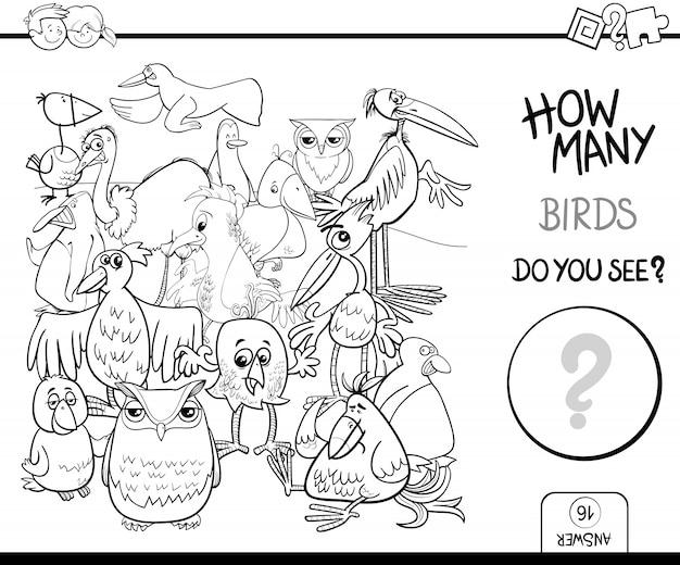 Compter les oiseaux activité de livre à colorier