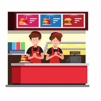 Compteur de caisse de restauration rapide, homme et femme portent un travail uniforme dans le restaurant burger en illustration plate de dessin animé