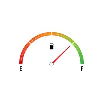 Compteur de carburant vide isolé sur blanc