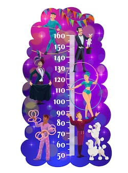 Compteur de croissance pour enfants avec des artistes de cirque shapito
