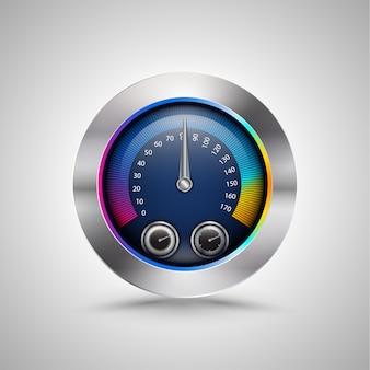 Compteur de vitesse coloré brillant isolé