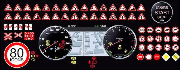 Compteur de vitesse. écran de hud de technologie futuriste.