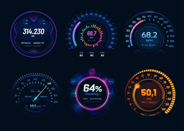 Compteur de vitesse avec indicateur lumineux au néon led
