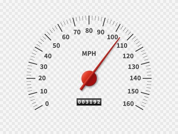 Compteur de vitesse de l'odomètre de voiture compteur compteur tr / min moteur miles échelle de mesure moteur blanc compteur concept