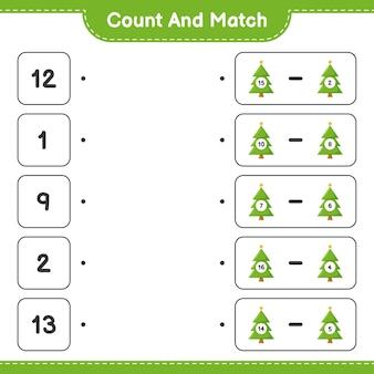 Comptez et associez, comptez le nombre d'arbres de noël et faites correspondre avec les bons nombres. jeu éducatif pour enfants