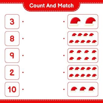 Comptez et associez, comptez le nombre de bonnet de noel et faites correspondre avec les bons nombres. jeu éducatif pour enfants
