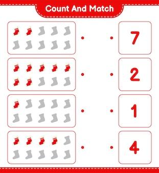 Comptez et associez, comptez le nombre de chaussettes et faites correspondre avec les bons nombres. jeu éducatif pour enfants