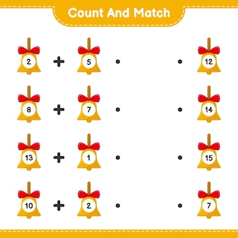 Comptez et associez, comptez le nombre de cloches de noël dorées et faites correspondre avec les bons nombres. jeu éducatif pour enfants